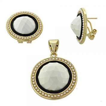 Gold Layered Earring and Pendant Adult Set, Ball Design, with Opal and Pearl, Golden Tone
