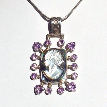 Vintage Cameo Wedding Jewelry Necklace Purple Amethyst-Mother of Pearl-Sterling Silver-OOAK