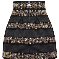Black High Waist Rivet Striped Skirt - Choies.com