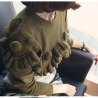 High Quality Pure Color Autumn Winter 2015 NEW Ruffle Hem Rose Decorated Women Fashion Outerwear Pullovers Knitted Sweater Women = 1945999876
