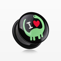 A Pair of 'I Heart Dinosaur' Single Flared Ear Gauge Plug