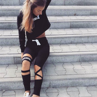 Casual Sports Hollow Out Autumn Sportswear Set