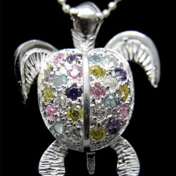 STERLING SILVER 925 HAWAIIAN 3D MOVING SEA TURTLE PENDANT MULTI COLOR CZ 18.70MM