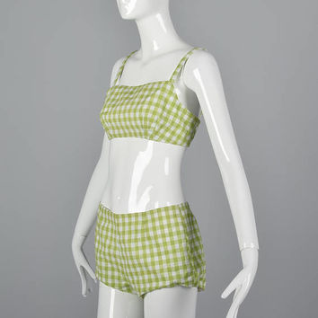 Small Gingham Bikini Two Piece Playsuit Hot Pants Crop Top Beach Outfit Pool Play Suit Green Vintage 1960s 60s Two Piece