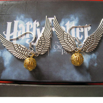 Golden Snitch Earring In Silver Steampunk Harry by BeautyandLuck