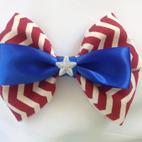 Captain America, American Patriotic Superhero Red, White, and Blue Bow, Winter Soldier by Design Bowtique