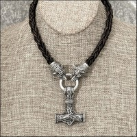 Large Stainless Steel Thor's Hammer on Viking Braid Leather Cord Necklace With Tribal Wolf Heads