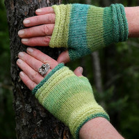 "Fingerless Mittens ""summer green""  in lush colours - 100% Merino Wool - handknitted in greens, gift for her"