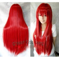 Amazon.com: Vocaloid Long Cosplay Party Red Straight Wig 100cm: Toys & Games