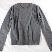 ~~~ THIS IS SO GOOD ~~~ GORGEOUS GRAY CASHMERE/WOOL TEXTURED KNIT SWEATER ~~ S/M