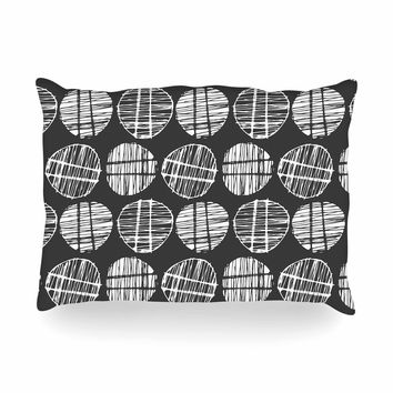 "Gill Eggleston ""Sketched Pods Carbon"" Black White Abstract Modern Digital Vector Oblong Pillow"