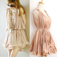 pink sweet elegant pink Pleated chiffon dress