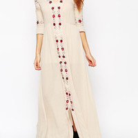 Beige Floral Embroidery Detail V Neck 3/4 Sleeve Maxi Dress