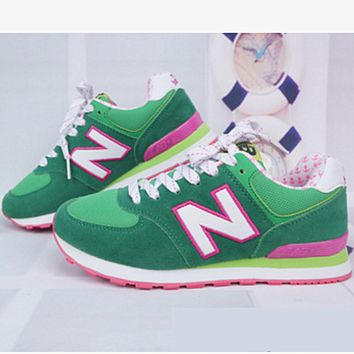 New balance abric is breathable n leisure sports shoes women's shoes Couples forrest gump students running Green