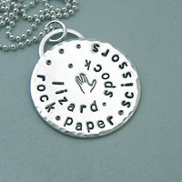 Rock Paper Scissors Lizard Spock - Big Bang Theory - Unisex - Sterling Silver and Copper Necklace
