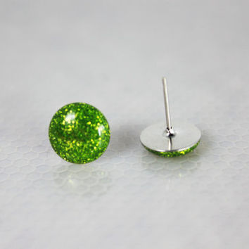 Lime Green Earrings, Stud Earrings, Hypoallergenic Jewelry, Gifts For Her