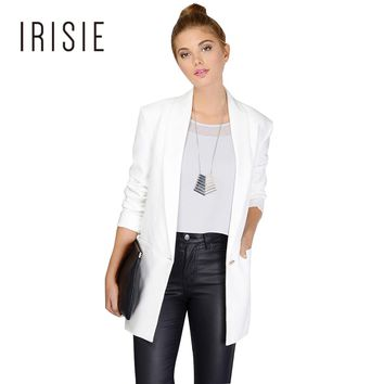 IRISIE 2017 Four Color Office Blazer Women Commute Single Button Loose Coat Sweet Turn-down Collar Long Sleeve Lady Cardigan