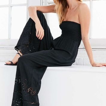 Winston White Coco Eyelet Wide-Leg Jumpsuit - Urban Outfitters