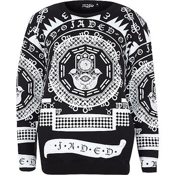 River Island MensBlack Jaded evil eye script print sweatshirt