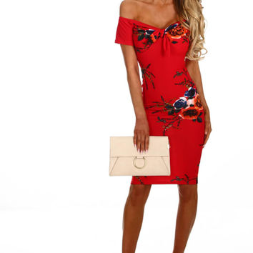 Making Headlines Red Floral Bardot Midi Dress