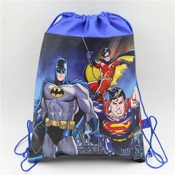 Batman Dark Knight gift Christmas 10pcs party supplies batman theme non-woven fabrics backpacks school cartoon drawstring bag birthday theme gift for kids boys AT_71_6