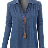 LE3NO Womens Long Sleeve Denim Lace Up Tunic Top