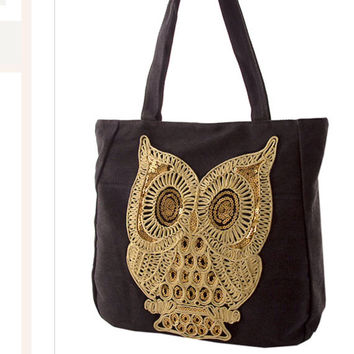 Messenger Bag Canvas Tote Bag Owl Bags and Purses Back to School Embroidered Handbag Gifts -by PiYOYO