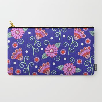 Floral Dot Motif (Blue version) Carry-All Pouch by Sarah Oelerich