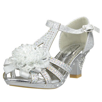 Kids Dress Sandals T-Strap Rhinestone Beaded Glit High Heel Shoes Silver SZ