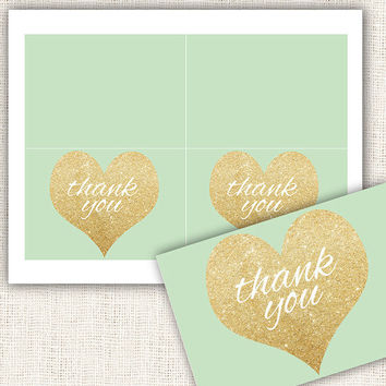 Baby shower thank you cards gold and mint gender neutral baby shower thank you cards gold hearts digital file instant download diy