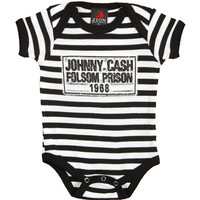Johnny Cash Boys' Folsom Stripes Bodysuit Black Rockabilia