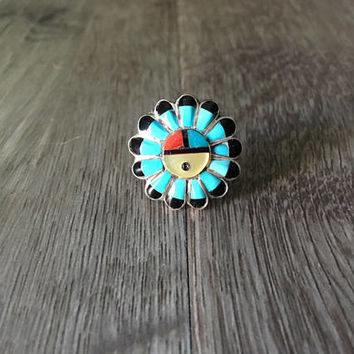 Blue Turquoise Gemstone Headdress Ring, Vintage Native American Handmade 925 Sterling Silver, US Size 3.5 (free ring sizing available)