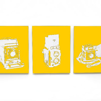 Vintage Camera Canvas Set of 3 (Yellow w/ White) Screenprint/Painting, Camera Print, Yellow Home Decor, Old Fashion Camera Art