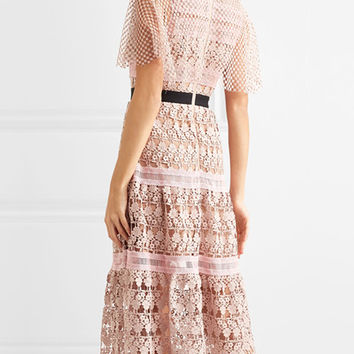 Pink Contrast Collar Mesh Cape Sheer Trim Lace Midi Dress