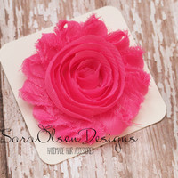 Rosette Hair Clip, Hot Pink Rosette, Frayed Chiffon Hairclip, Children's Hair Accessories, Toddler Hairclip, Girls Bow, Flower Hairclip