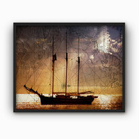 Sailing Ship On An Antique Chart #3 - Sailing Ship Ocean Map Wall Art Print - Marine Chart Decor - Tall Ship Poster - Vintage Chart Collage