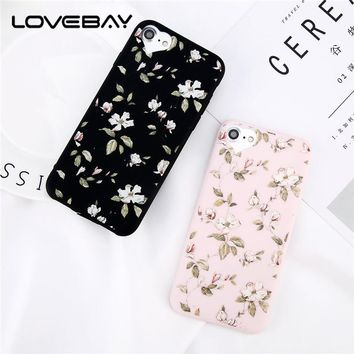 Lovebay Beautiful Flower For iPhone 5 5s SE 6s 7 8 Plus Love Heart Camera Protect Design Soft TPU Phone Case For iPhone 6 Cover