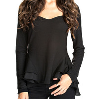 Long Sleeve A-Line Ruffled Top