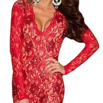 Chicloth Red Scalloped Deep V Backless Lace Bodycon Dress