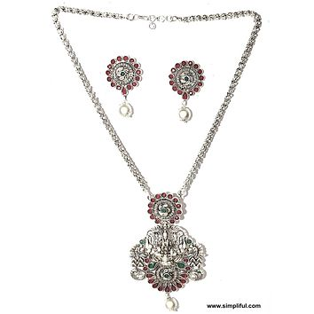 Bright Oxidized Silver Goddess Lakshmi Pendant Rope chain Necklace and Stud Earring set