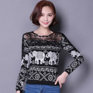 2016 Women's fashion Blouses shirts off shoulder Lace Blouse Vintage Hollow Out Printing elephant Women tops shirt clothes S1848