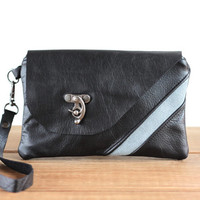 Black Leather Clutch - Wristlet Wallet - Leather Bag - Smartphone Wristlet Wallet - Wristlet Clutch - Wrist Pouch - Small Bag