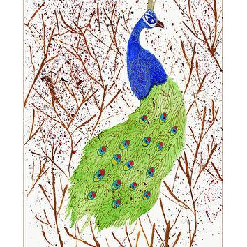 Peacock Watercolor Painting, Art Print, Giclee Print