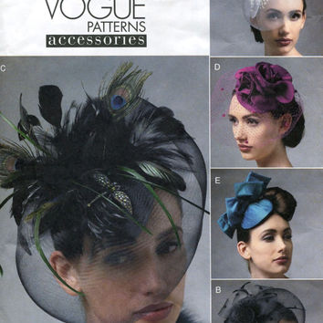 Womens FASCINATOR HATS 1950s Style w/ Crinoline Feathers Veil Netting All Sizes Evening Cocktail Millinery Vogue 8868 UNCUT Sewing Pattern