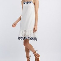FLORAL EYELET RUFFLE DRESS