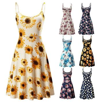Women's Casual Beach Summer Sleeveless Adjustable Strappy Floral Dress