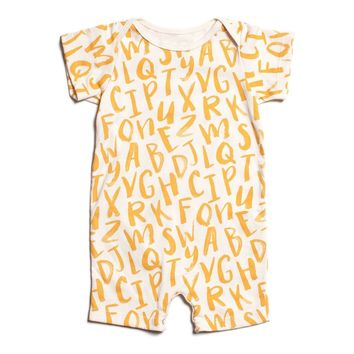 Yellow Alphabet- Organic Romper by Winter Water Factory