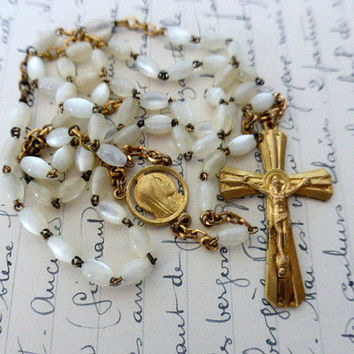 Vintage French, Mother Of Pearl, Gilt Rosary. SHIPPING INCLUDED