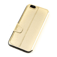 Metallic Gold with Windows Fold Over Cover for iPhone 6