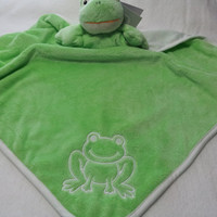 Baby Blanket Frog Green Minky and Jersey Unisex